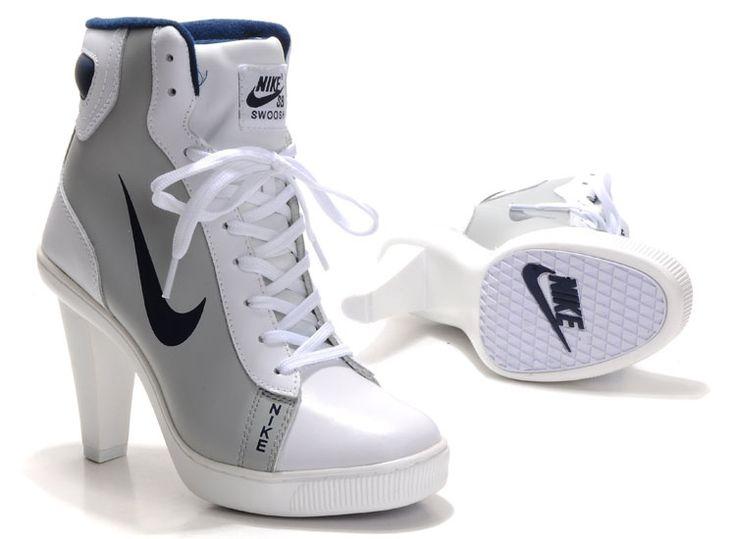 Nike Dunk SB Swoosh High Heels White Grey BlackLogo