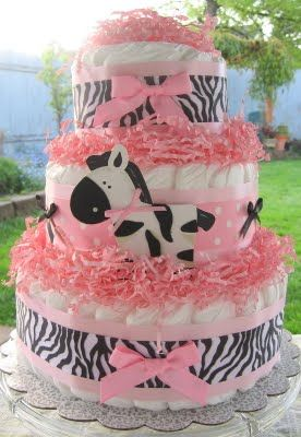 Bouncing Baby Bouquets: Sassy Pink Zebra Baby Diaper Cake~ ($36.99)