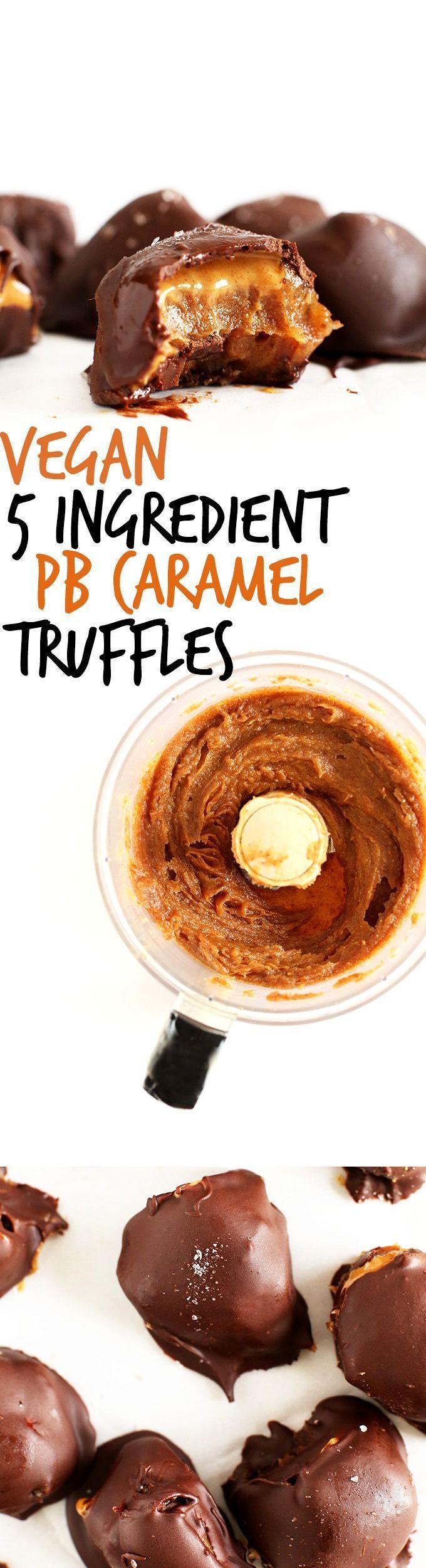 AMAZING 5 ingredient Vegan Truffles with salted DATE CARAMEL, Peanut Butter and Chocolate! #vegan #glutenfree