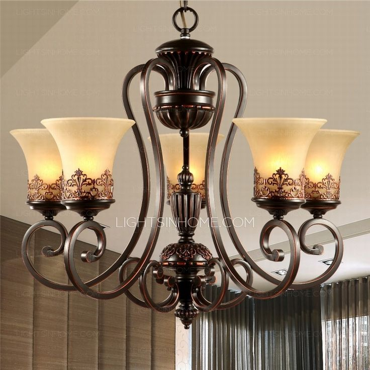 5-Light Cheap Chandeliers For Kitchen Wrought Iron Material