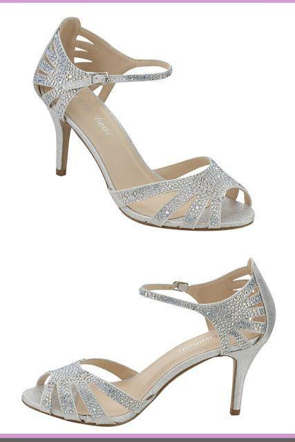 67312698c  WeddingShoes  wedding  WomensFashion silver wedding shoes City Classified  Reason Women s Strappy Open Toe Rhinestone Low Heel