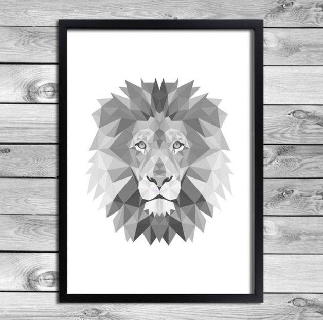 Muurdecoraties - Digitale Poster Geometrical Leeuw Illustratie - Een uniek product van DesignClaud op DaWanda