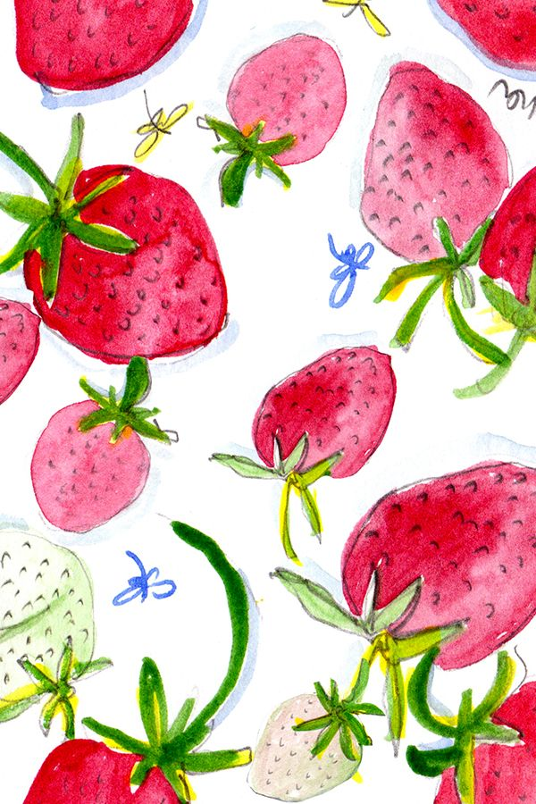 Strawberries Perfecy by shinyhappyart.  Goregous pink and red watercolor strawberries.  Perfect for summer napkins or a picnic basket liner.