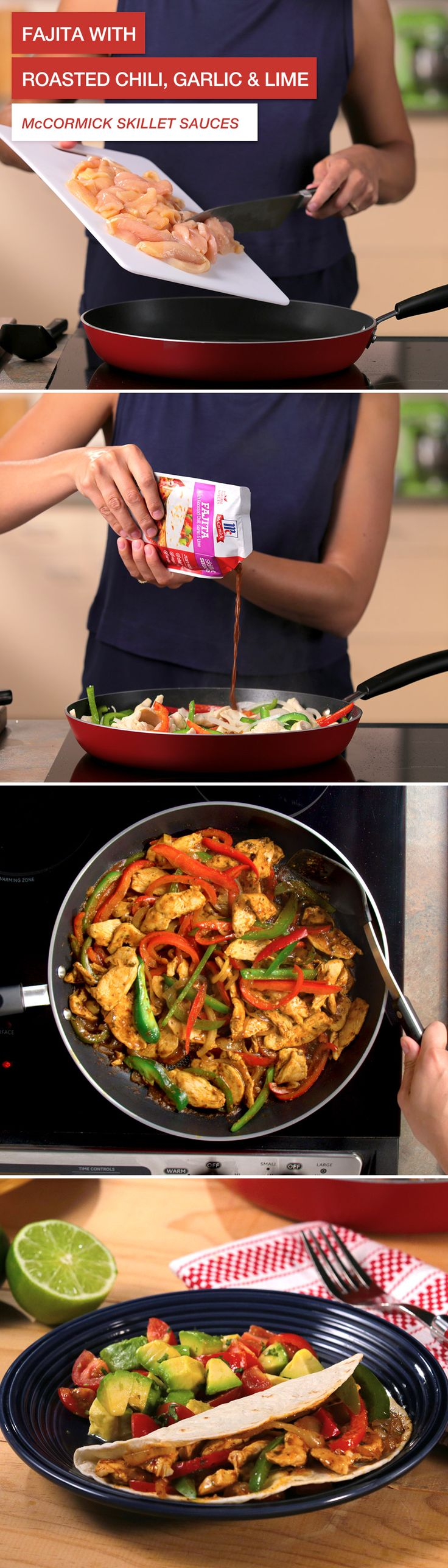 You'll only need 15 minutes to serve up flavorful fajitas with McCormick Skillet Sauces. Just tear, pour, cook and serve. No MSG. No artificial flavors. Natural spices. Because pure tastes better. Click through for recipe details!