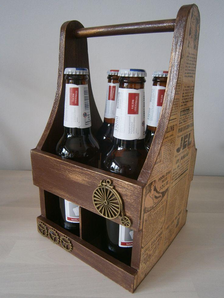Decoupage stand for a beer, beer rack, czteropak, stojak na piwo