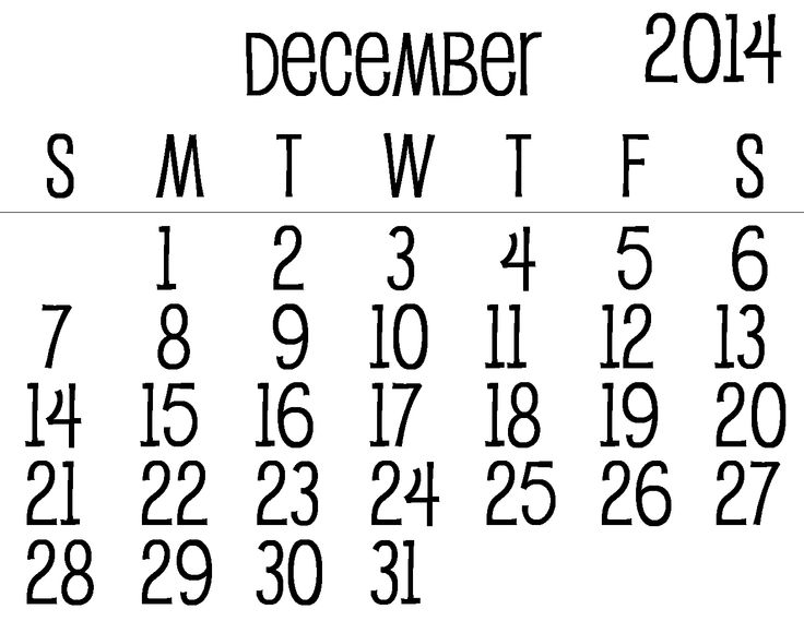December Calendar | December 2014 Digital Stamp Calendar (png)