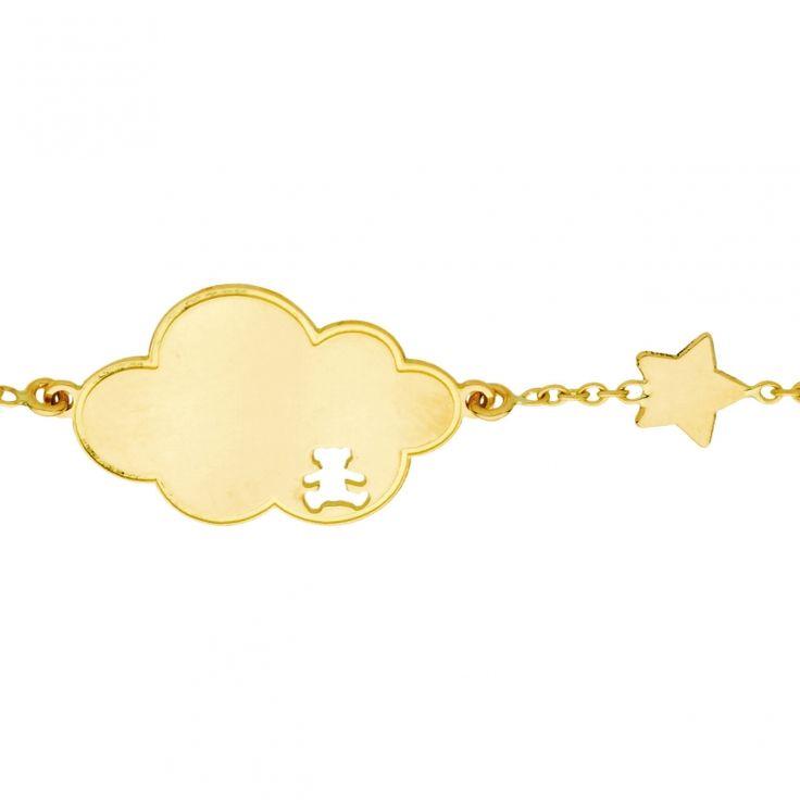 La gourmette bébé Lulu Castagnette nuage étoile de la marque Berceaumagique Bijoux tient son originalité dans sa plaque en forme de nuage.  Ce bijou à offrir comme gourmette de baptême est une jolie marque de tendresse, une délicate attention qui viendra parer d'élégance le poignet délicat de l'enfant.
