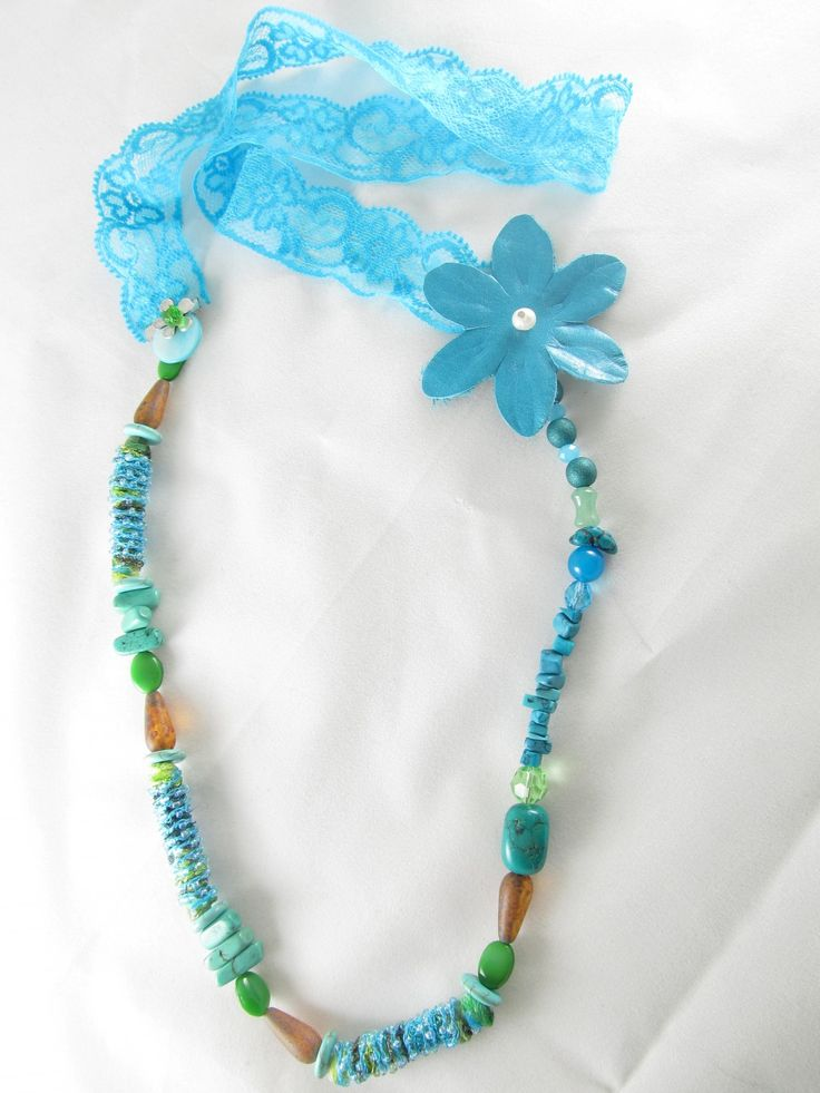 Handmade necklace with lace (1 pc)  Made with handmade fiber beads, with seed beads, lace, leather turquoise flower, semiprecious stones and glass beads.