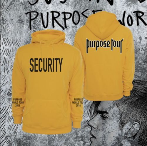 Hoodie Purpose Tour Yellow security Justin B. collection di DaiquisCraftRoom su Etsy