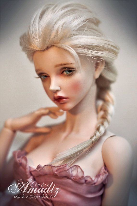 "Cosplay Elsa (""Frozen"") natural angora wig for BJD"