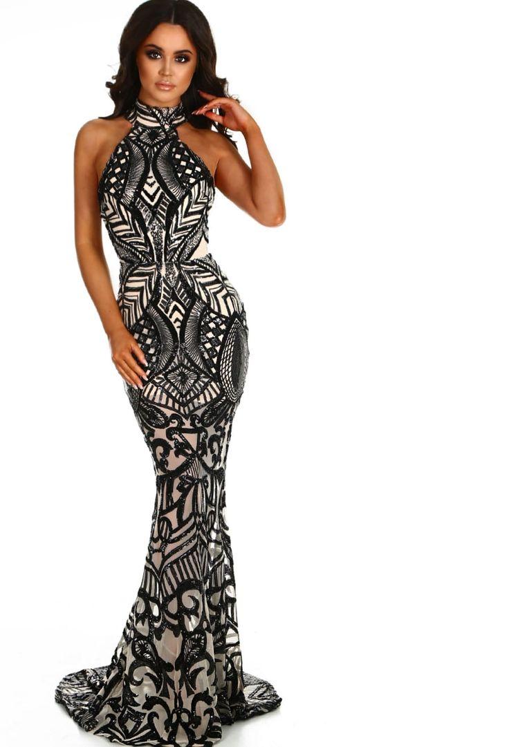 PREMIUM Upon A Dream Black Sequin Maxi Dress | Pink Boutique