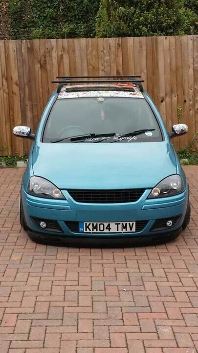 Vauxhall Corsa 5 Door Breeze Blue Banded Steels StickerBomb Pressed Plates Angel Eyes Euro Style