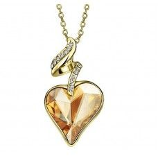 Crystal Golden Shadow Heart Necklace. Made with Swarovski elements. Get 10% off code: Swa-074