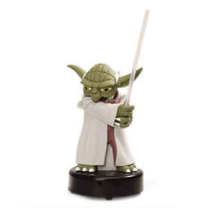 Guard your desk, he will    Need to keep those pesky Sith away from your desk when you're refilling your coffee? We understand. This motion activated Yoda is ready to defend your workspace. When the Sith come near, he fires up his lightsaber and warns them to back off.