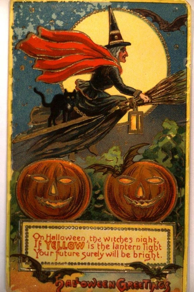 Witch Rides Broom & Two Pumpkins | Halloween Postcard, circa 1910.