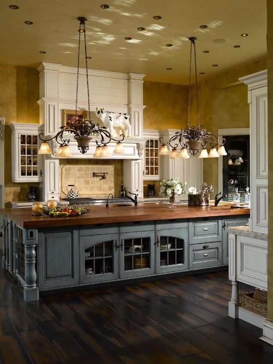 French Country Kitchen ~ gorgeous island with wood countertops ~ design ideas and decor