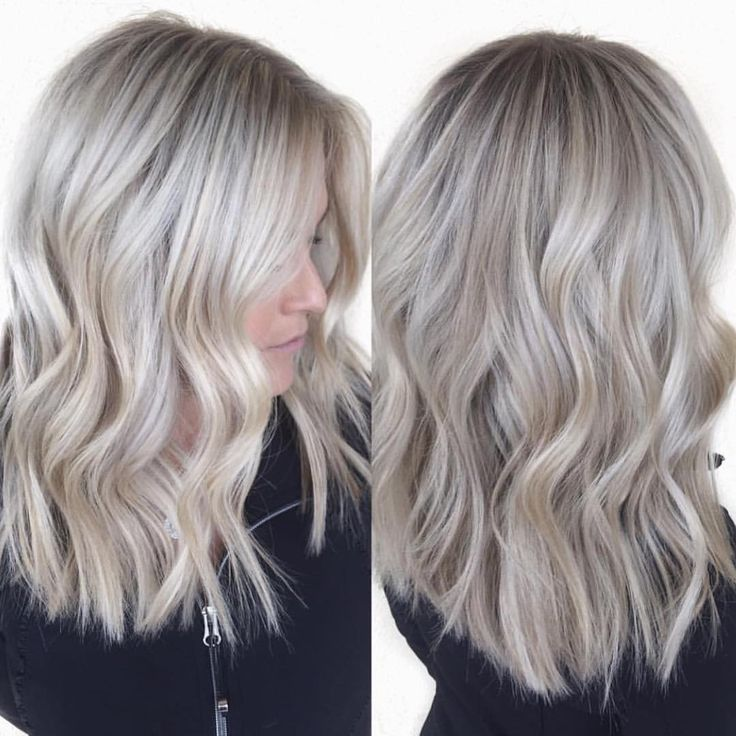 Cool Ash Blonde Balayage Shades Silver Shoulder Length Straight Beige Sandy Icy White Blonde Hair Hair Styles Winter Blonde Hair