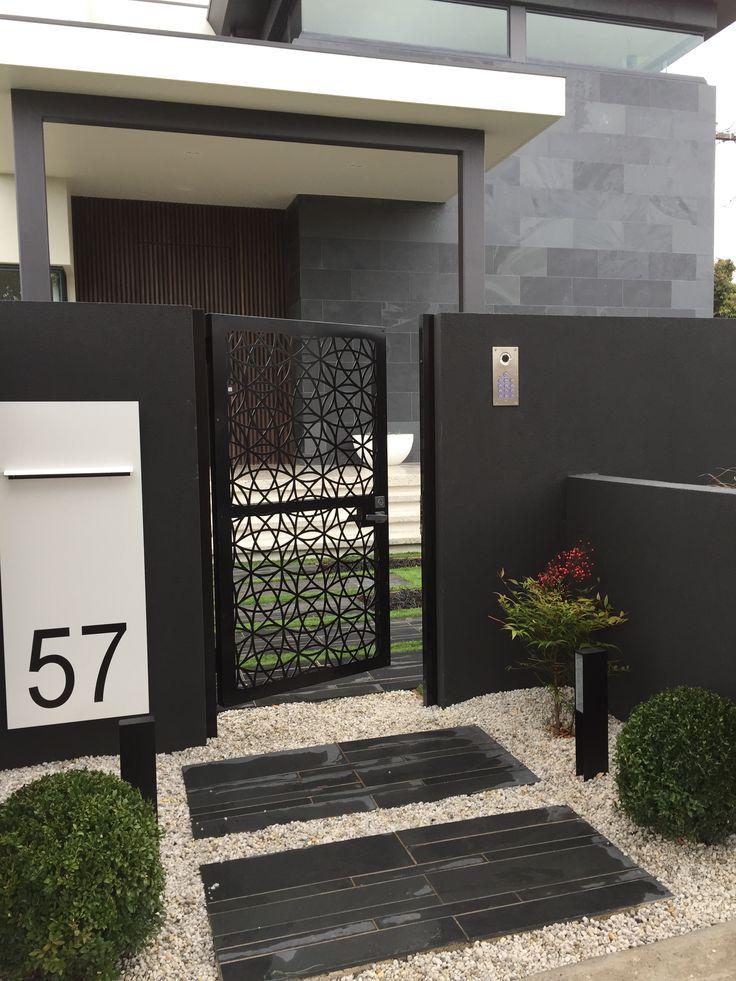 Modern garden entrance with lazer cut gate. www.rpgardendesign.com.au