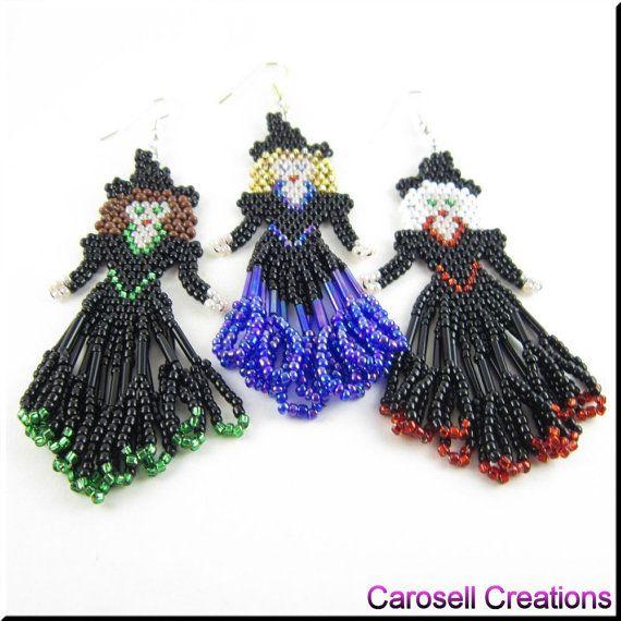 Halloween heks zaad kraal vakantie oorbellen  Glinda de goede