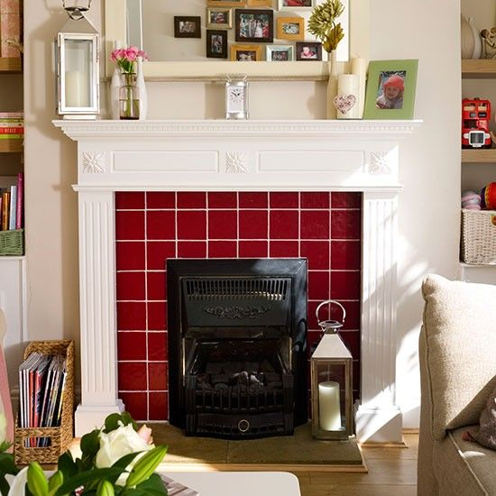 Living room with red tiled fireplace | Living room decorating | Style at Home | Housetohome.co.uk