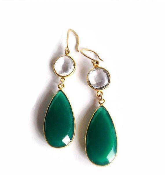 Dangle Earrings, Drop Earrings, Green Onyx Earrings, #jewelry #earrings @EtsyMktgTool http://etsy.me/2fZcGZJ #daintyearrings #earrings