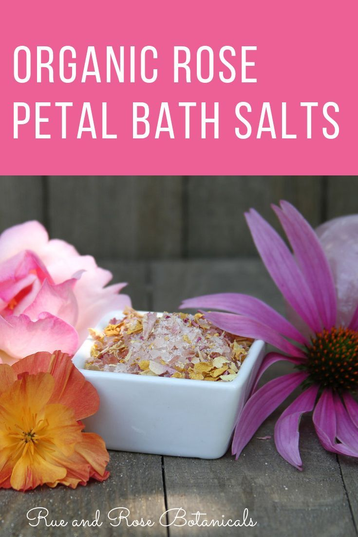 Organic rose petal bath salts in bathtime pinterest
