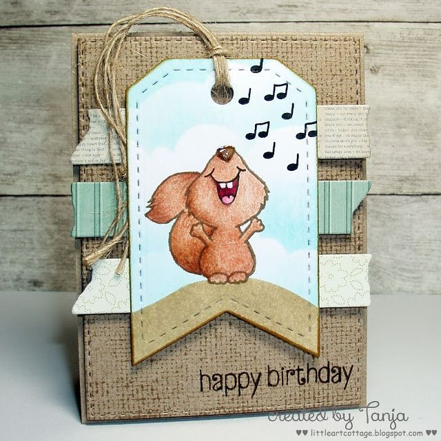 Singing!  Card by Tanja at littleartcottage  #cardmaking #papercraft #CuteAnimals #whimsical #stamping #crafting #scrapbooking #adultcoloring