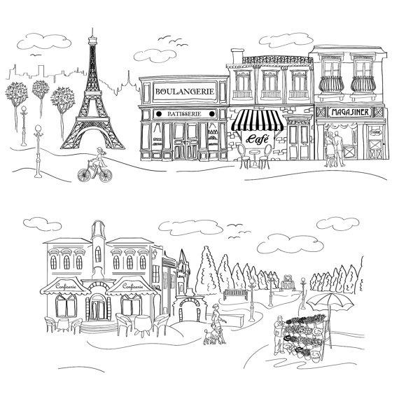 doodled paris eiffel tower street and park scene
