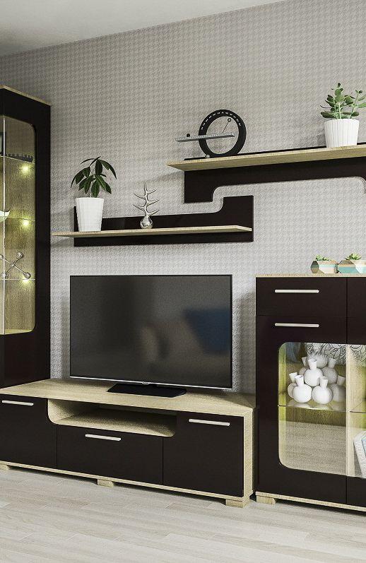 Черная стенка для гостиной в современном стиле с тумбой для ТВ и полками