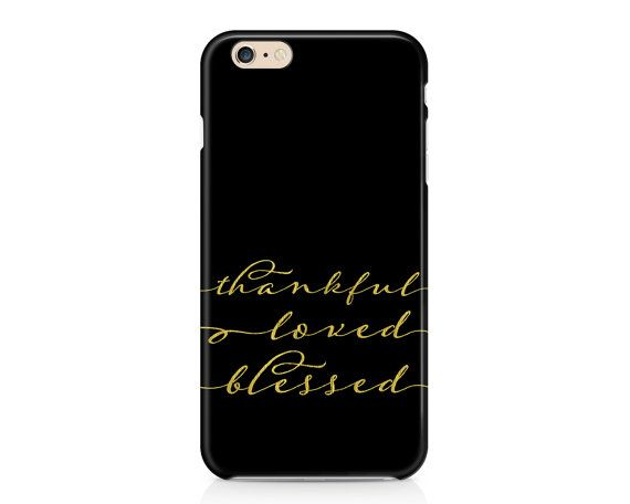 Simple yet beautiful phone case thats perfect for Thanksgiving! Features a black background with the words thankful loved blessed in faux gold foil elegant script. AVAILABLE DEVICE SIZES: iPhone 7 Plus (tough option only) iPhone 7 iPhone 6S Plus iPhone 6S iPhone 6 Plus iPhone 6 iPhone 5/5S iPhone 5C iPhone 4/4S Samsung Galaxy 7 Edge (tough option only) Samsung Galaxy 7 (tough option only) Samsung Galaxy 6 Samsung Galaxy 6 Edge (tough option only) Samsung Galaxy 6 Edge Plus (tough option…