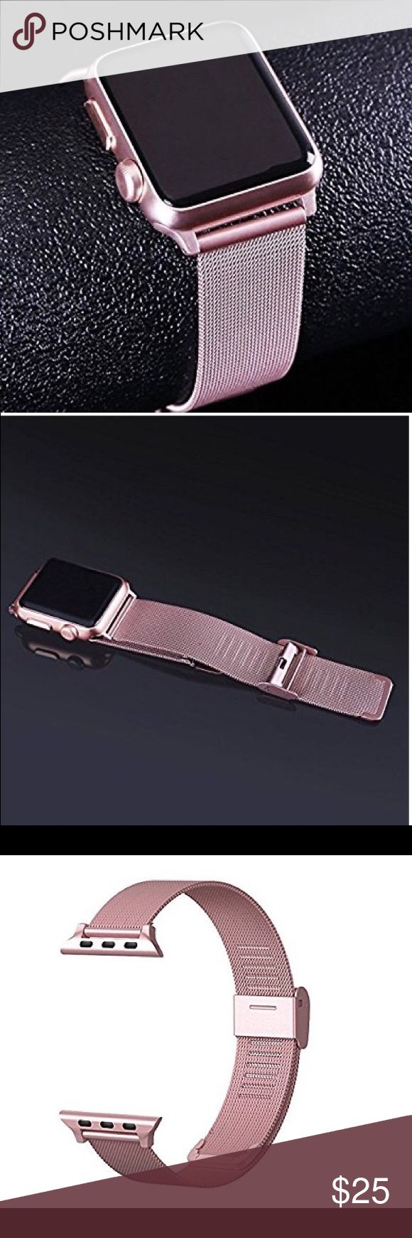 Apple Watch band Replacement band for Apple Watch series 1 or series 2 Apple iwatch 2 (Rose Gold 38MM) Milanese Loop Stainless Steel It look great on and fits perfectly ❤️❤️ Accessories Watches