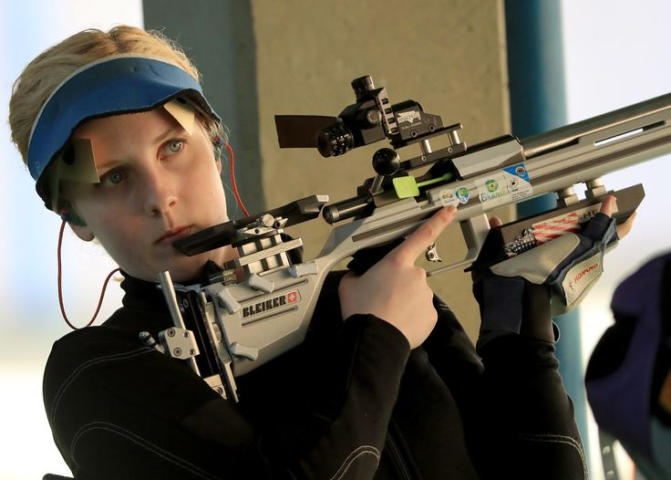 . RIO DE JANEIRO, BRAZIL - AUGUST 11:  Virginia Thrasher of the United States competes in the 50m 3 Position Rifle qualifying match on Day 6 of the Rio 2016 Olympics at the Olympic Shooting Centre on August 11, 2016 in Rio de Janeiro, Brazil.  (Photo by Samoa Greenwood/Getty Images)