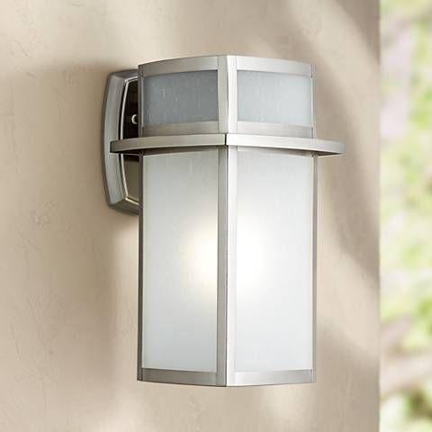 33 best outdoor lighting images on pinterest exterior lighting delevan 13 high brushed nickel outdoor wall light workwithnaturefo