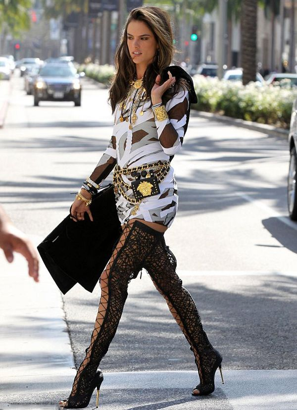 Alessandra Ambrosio Tom Ford Schutz Lace Up Thigh High ...