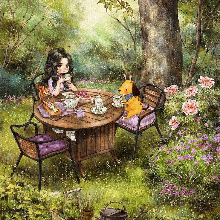 #illustration #drawing #sketch #teatime #girl #dessert #forest #wood #fresh…