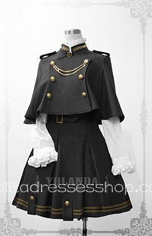 Cheap Yolanda Uniform Style Velvet Lolita Outfit with Cape Sale At Lolita Dresses Online Shop
