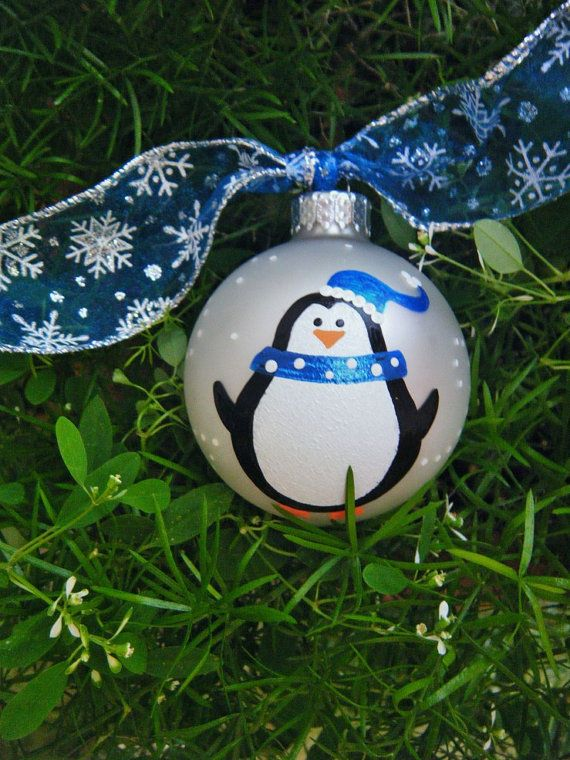 Penguin Christmas Ornament - Personalized Handpainted Penguin with Blue Scarf - Glass Ball Christmas Ornament