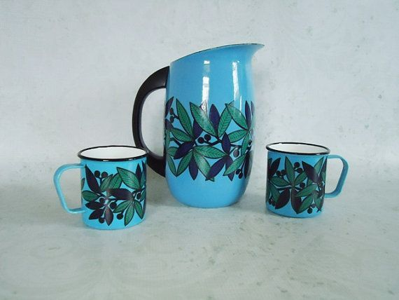 Arabia Finel Enamelware | Finel Arabia Enamel Pitcher and Mugs - Mid Century Modern Finel Arabia ...