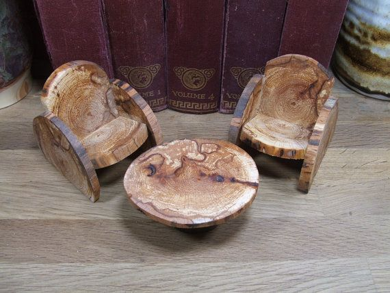 Handmade Rustic Doll Or Fairy House Furniture Set. 1/12th Scale. 10.00