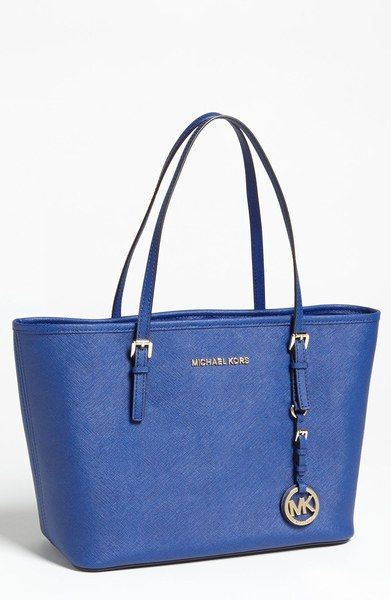 129 FREE SHIPPING Jet Set Tote Designer: MICHAEL KORS / Colur: Cadet blue / Material: Saffiano Leather with Gold Hardware