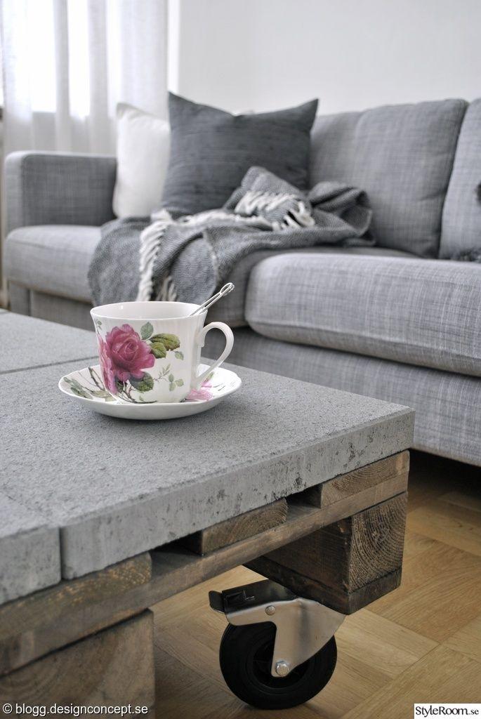 soffa,soffbord,soffbord av lastpallar,betongbord,pläd