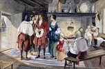 Tableau illustrant l'intendant Talon visitant des colons