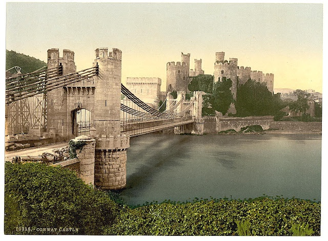 Castle and suspension bridge, Conway, Wales - Picture produced using the Photochrom system - 1890s