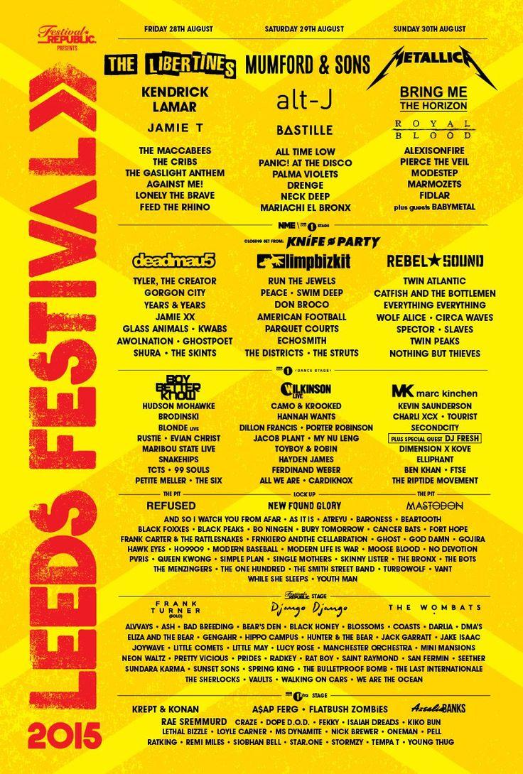Line-up Poster | Leeds Festival 2015