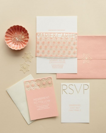 Stencil Cutout Invitation: Welcoming words grace this custom suite, which features a delicate sleeve and coordinating reply and reception cards, with a decorative seal for the envelope. It's inspired by the Art Deco era, when peach was just as popular as it is today.