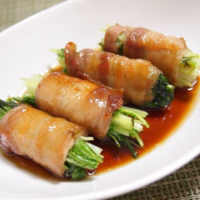 水菜の甘辛肉巻き