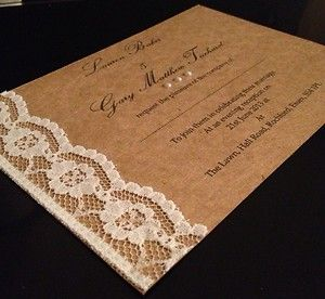 Vintage Recycled Brown Card Pearl/Lace Handmade Wedding Invitation! | eBay