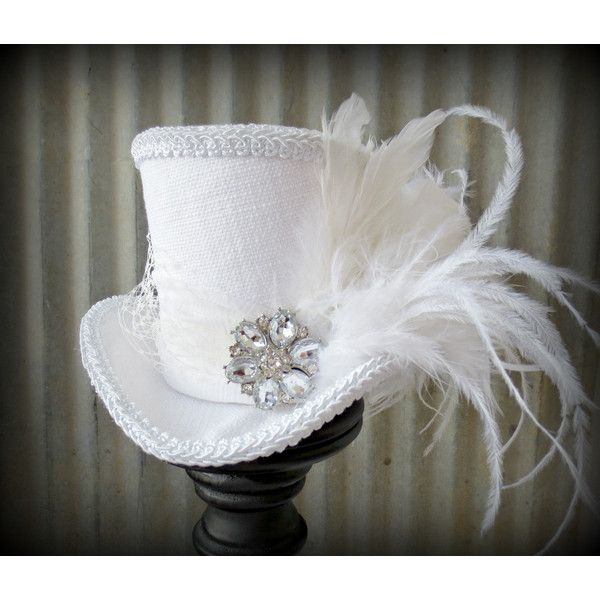 White on white Linen Mini Top Hat, Alice in Wonderland Mini Top Hat,... ($52) ❤ liked on Polyvore featuring accessories, hats, steampunk, white fascinator hat, top hat, white hat, feather hat and miniature top hats