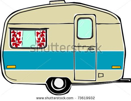 Unique Travel Trailer Vector Clip Art Cartoon