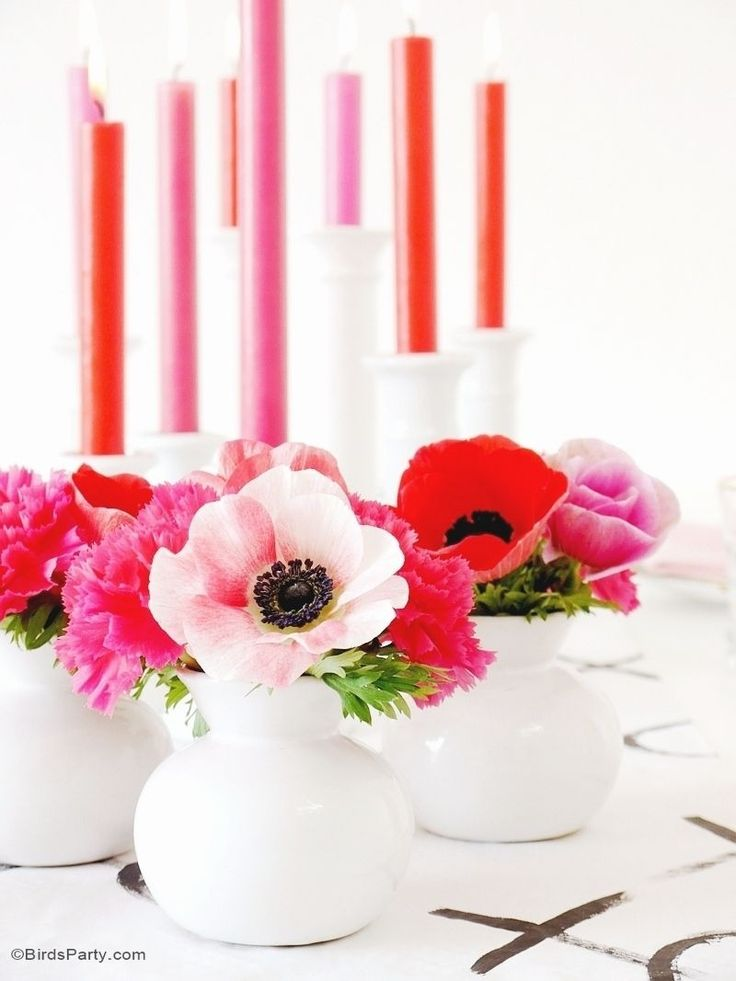 Ideas for DIY table place settings, decorations, food and favors for a modern Valentine's Day dinner.